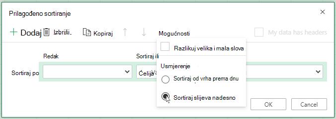 """Prilagođeno sortiranje otvori izbornik """"Mogućnosti"""" i odaberite sortiraj slijeva na desno"""