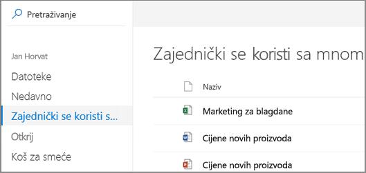 Snimka zaslona zajednički se koristi sa mnom prikaz na servisu OneDrive za tvrtke