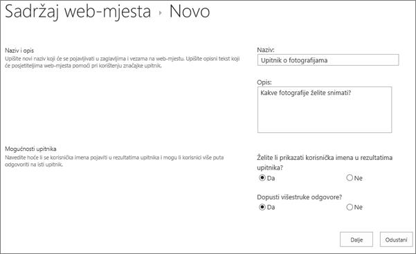 Novi upitnik dijaloški okvir s tekstnim okvirima ispuniti.
