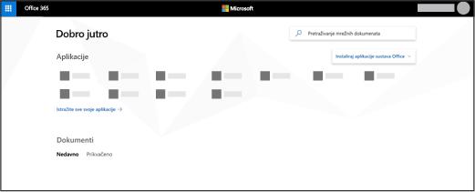 Početna stranica servisa Office 365