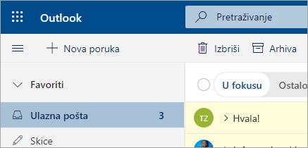 Snimka zaslona poruke e-pošte u programu Outlook na webu beta