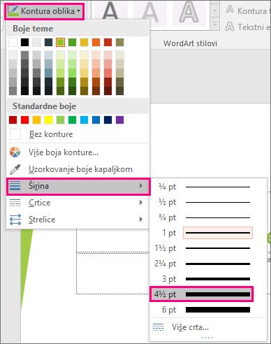 Prikazuje crte različite debljine u sustavu Office