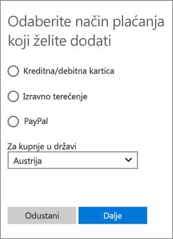 Prikaz dostupnih mogućnosti za Austriju na izborniku Odabir načina plaćanja.