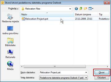 dijaloški okvir stvori/otvori podatkovnu datoteku programa outlook