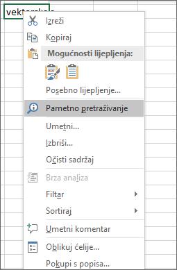 Pametno traženje na izborničkom prečacu u programu Excel 2016 za Windows