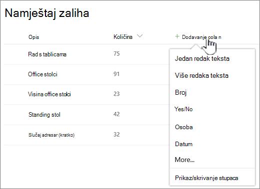 Popis s istaknutim gumbom Dodaj stupac