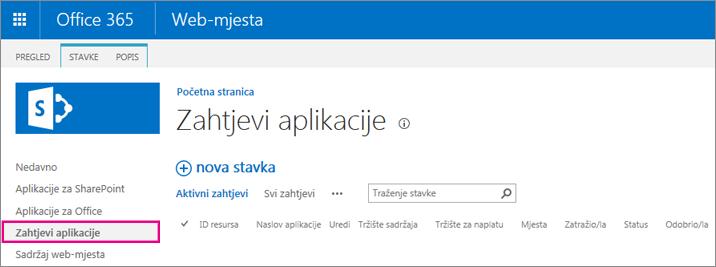 Snimka zaslona prikazuje vezu Zahtjev za aplikaciju