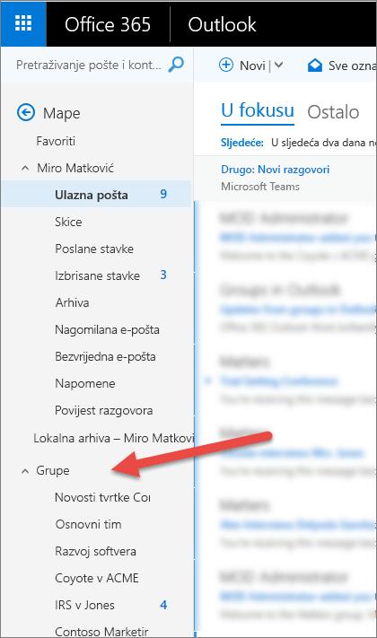 Vidjet ćete svojih grupa u navigacijskom oknu s lijeve strane u programu Outlook ili Outlook na webu