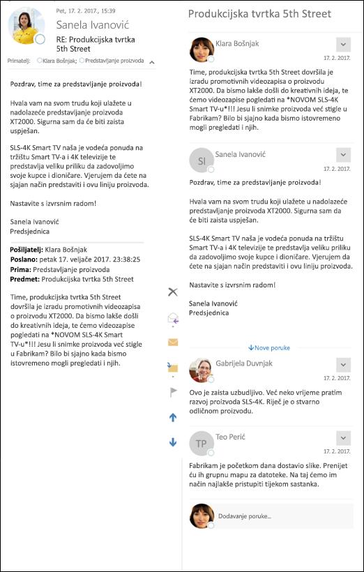 Usporedite prikazi klasični i Outlook.