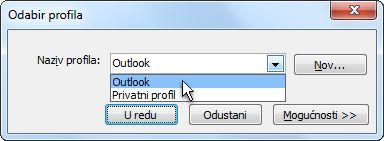 dijaloški okvir odabir profila