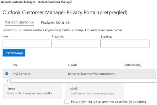 Snimka zaslona: izvoz podataka klijenta programa Outlook Customer Manager