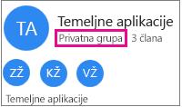 """Grupa oglednih kartica s istaknutim """"privatna grupa"""""""