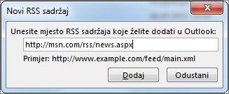 Unesite URL RSS sažetka sadržaja
