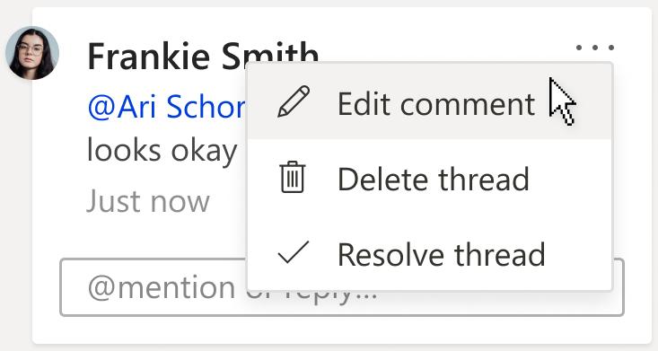 Slika kartice komentara s prikazom mogućnosti uređivanje komentara. Mogućnost je u odjeljku padajući izbornik Akcije više thread, koji se nalazi u gornjem desnom kutu komentara.