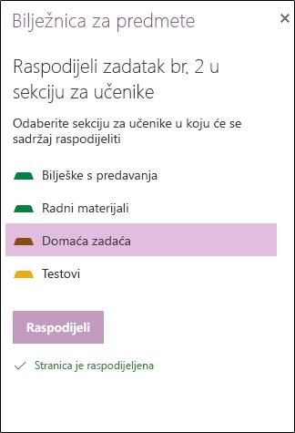Primjer raspoređen zadatak u programu OneNote za web