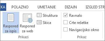 Snimka zaslona kartice Prikaz u programu Word 2013 na kojoj se prikazuje odabrana i istaknuta mogućnost Ravnalo.