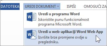 Uređivanje u web-aplikaciji Word Online