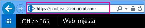 Kopiranje URL-a timskog web-mjesta