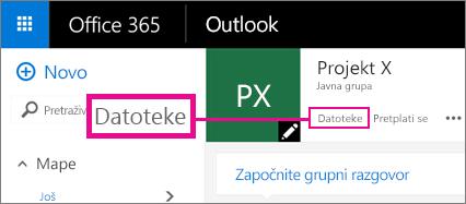Snimka zaslona s prikazom klika na mogućnost Datoteke u grupi radi pristupa servisu OneDrive za grupu