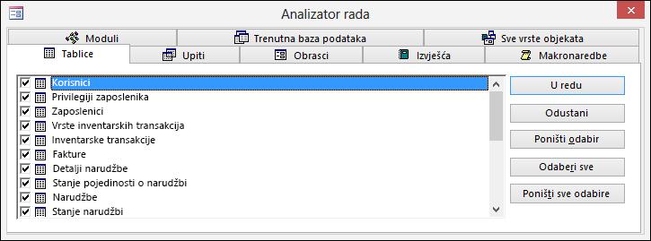 Dijaloški okvir Analizator rada u programu Access