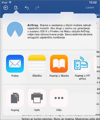Otvori u drugoj aplikaciji dijaloški omogućuje vam slanje dokumenta u nekoj drugoj aplikaciji za e-poštu, ispis ili zajedničko korištenje.