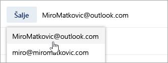 Snimka zaslona koja pokazuje padajući izbornik adrese pošiljatelja