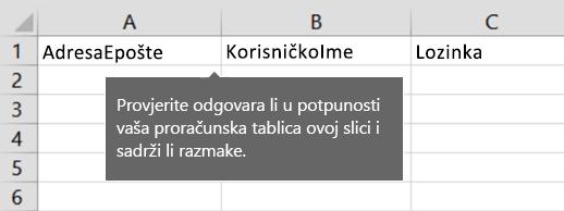 Naslovi ćelija u migracijskoj datoteci programa Excel.