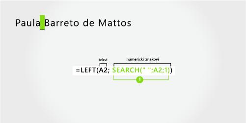 formula za razdvajanje imena i prezimena od tri dijela