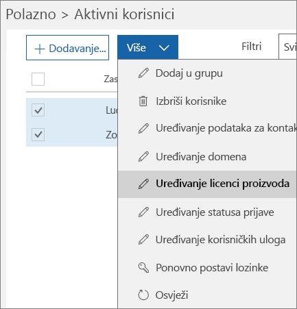 Uklanjanje svih korisničkih licenci pomoću centra za administratore sustava Office 365