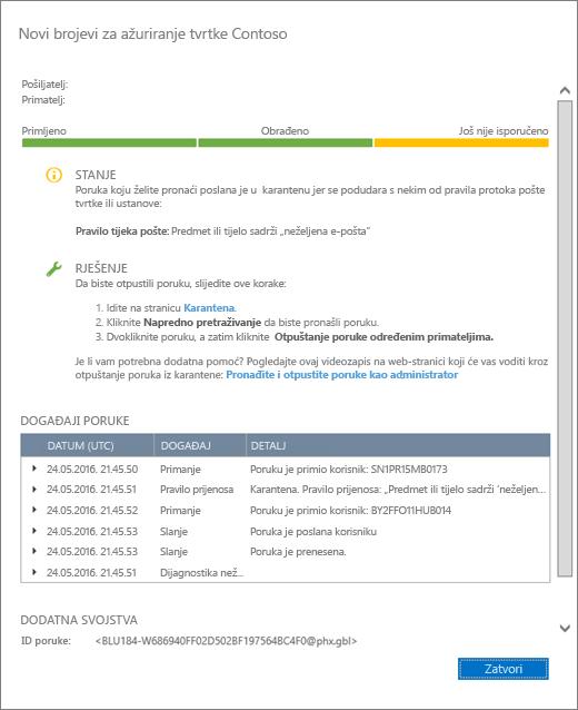 Snimka zaslona stranice s pojedinostima praćenja poruka s primjerima pojedinosti.