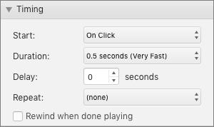 Snimka zaslona prikazuje odjeljak timing u oknu animacije s mogućnostima Start, trajanje, kašnjenje i ponavljanje te potvrdni okvir za premotavanje pri završetku reprodukcije.