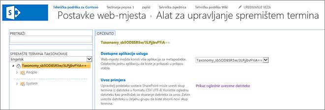 Zaslon za upravljanje spremište termina