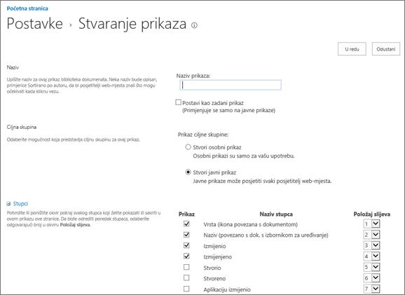 Stvaranje stranice postavke prikaza