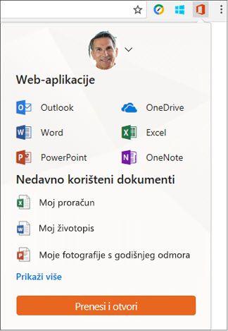 Kliknite Office Online datotečni nastavak u traci proširenja Chrome da biste otvorili ploču za Office Online.
