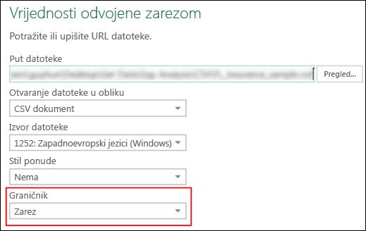 Power Query – CSV poveznik – sposobnost navođenja graničnika stupaca u dijaloškom okviru Izvor
