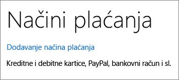 Prikaz veze Dodaj način plaćanja na stranici Načini plaćanja.