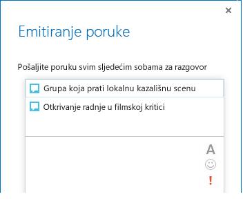 Snimka zaslona s vrhom dijaloškog okvira za emitiranje poruke