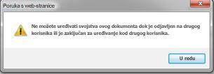 poruka u kojoj se nalazi obavijest da je datoteku zaključao neki drugi korisnik