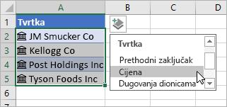 Pokazivač s klikom na mogućnost Dodaj stupac i odabir mogućnosti Cijena na popisu polja