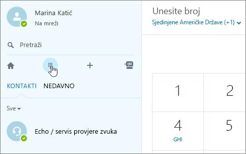 Snimka zaslona koja prikazuje gdje uputiti telefonski poziv putem Skypea