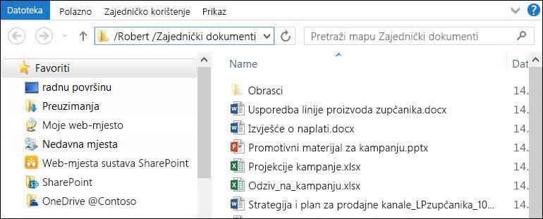 """Eksplorer datoteka nakon odabira mogućnosti """"Otvori pomoću programa Explorer"""
