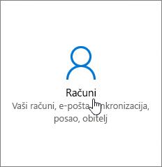U postavkama sustava Windows odaberite Računi.