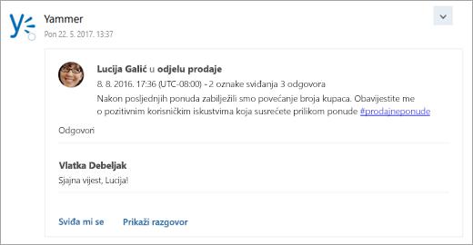 Snimka zaslona kartice s povezanim servisa koja se isporučuje u ulaznu poštu grupe