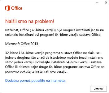 Poruka o pogrešci Nije moguće instalirati 32-bitnu verziju preko 64-bitne verzije sustava Office