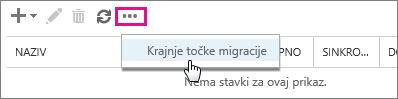 Odaberite krajnju točku migracije.