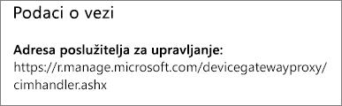 Na stranici Upravitelj prikazuje se URL s podacima o vezi upravitelja uređaja.