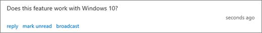 Sudionik pita pitanje prikazane u oknu moderatora pitanja i odgovora