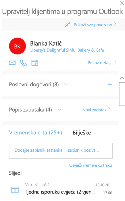 Zaslon dobrodošlice značajke Outlook Customer Manager