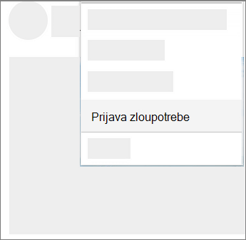 Snimka zaslona kako se prijaviti zloupotrebu na servisu OneDrive