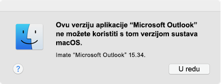 """Pogreška: """"Ne možete koristiti tu verziju aplikacije"""""""